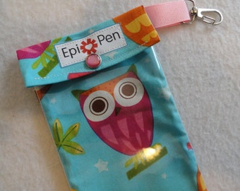 Epi Pen Pouch w/ Clear Pocket and Clip 4x8 Holds 2 Allergy Injector Pens Travel Case Dual Carrier Owls on a Whim Fabric
