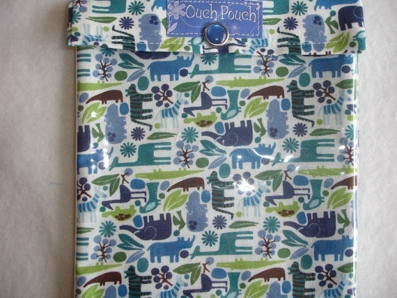Medium OUCH POUCH First Aid Travel Organizer for Purse / Diaper Bag ...Kiss Your Baby's Boo Boo's Away ( 5x7 2D Zoo Teeny Tiny Blue Fabric ) ...Contest Win Free First Aid Supplies