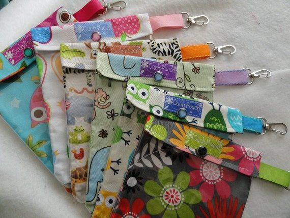 Medium Ouch Pouch TM w/ Clip First Aid Organizer for Diaper Bag Car Purse (5x7 You Choose Fabric) School Tote/Carry On Luggage