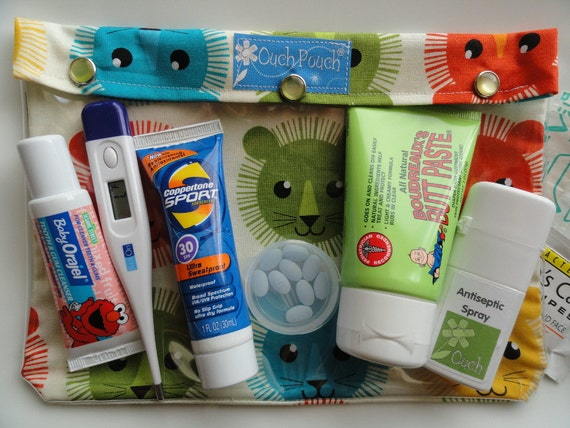 Clearance - XL Ouch Pouch Clear Front Organizer for Overnight Case Diaper Bag Nursing Medications First Aid (7x9 Lions in Bermuda Fabric)