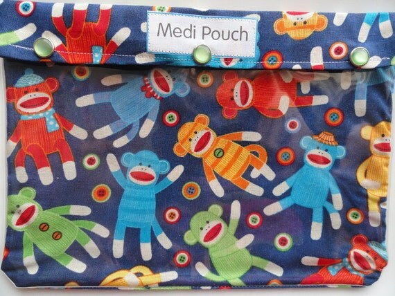 XL Medi Pouch Clear Front Organizer for Overnight Case Diaper Bag Medications Nursing Supplies First Aid Get Well (7x9 Sock Monkey Fabric)
