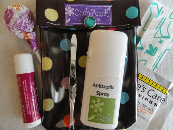 Clearance - Small Ouch PouchTM First Aid Kit For Diaper Bag Car Purse Travel (4x5 Dots in Cocoa Fabric)