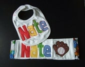 Personalized Burp and Bib Set - Sports applique - TriedAndTrueDesigns