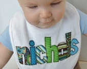 Personalized Baby Bib Appliqued in turquoise blues, greens, and browns by Tried and True Designs on Etsy