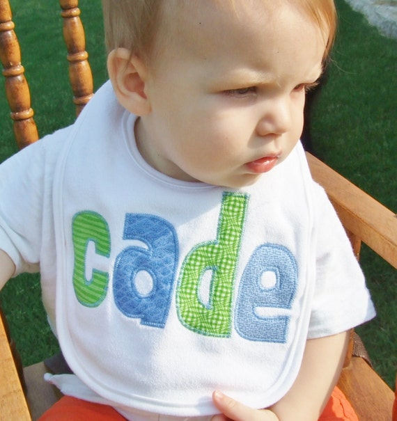 Personalized Baby Bib Appliqued in blues and greens by Tried and True Designs on Etsy