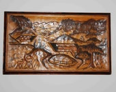 Hand Carved Wooden Decorative Panel of Swiss Landscape