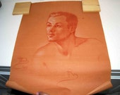 Vintage Portrait of Roy in Pastels or Colored Pencil on Light Brown Paper