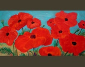 HUGE 48x24 Original Up Close Poppies Impresionist Painting on Canvas