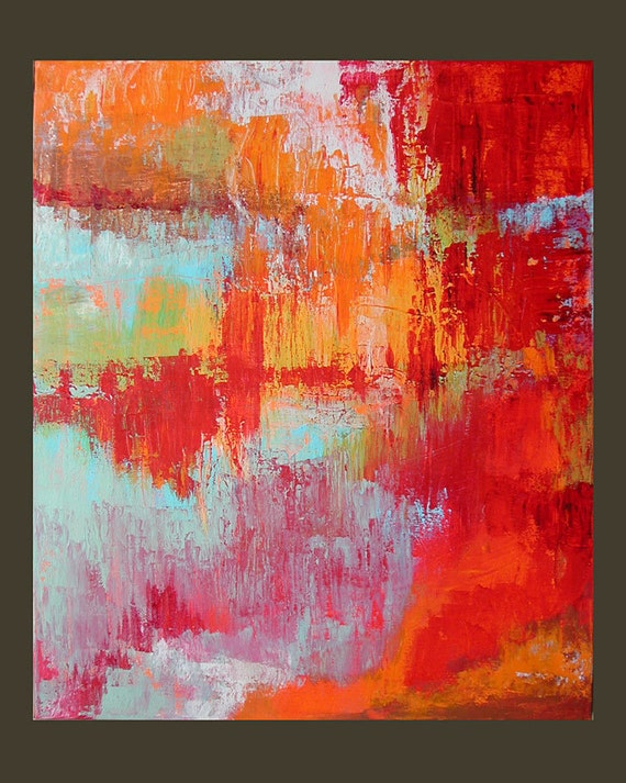 """Original Painting Abstract Art Expressionist Acrylic Painting on Canvas """"Crimson Dream""""  20""""x24"""" by Linda Haywood"""