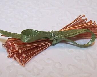 """50 Copper Headpins, 22 Ga, 2"""""""