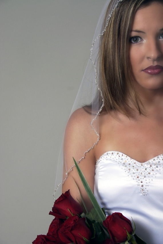Hand beaded fingertip length mantilla bridal veil - made to order