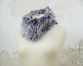 Faux Fur Cowl Scarf, Purple and Fluffy