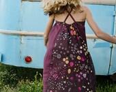 Aubergine Purple Sun Dress with Flowers on the back