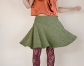 SAMPLE SALE Half Price Full Skirt in Olive Green, Made to Order, Circle Mini Skirt