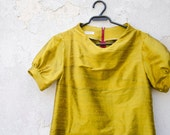 Mustard Yellow Dress in Silk with raised neckline and puffy sleeves - karmologyclinic