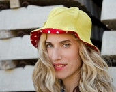 Chartreuse Summer Hat, Linen and Cotton, Sun Hat with Polka Dots