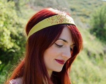 Linen Headband Chartreuse Embroidered Poppy Field