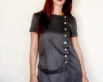 50% Off Sample Sale Grey Dress Pinstripe Asymmetrical with short Sleeves Vintage Inspired