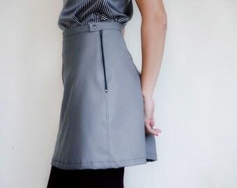 Faux Leather Mini Skirt, Grey Fake Leather Skirt, Mini Aline Mod Skirt, Plus Sizes