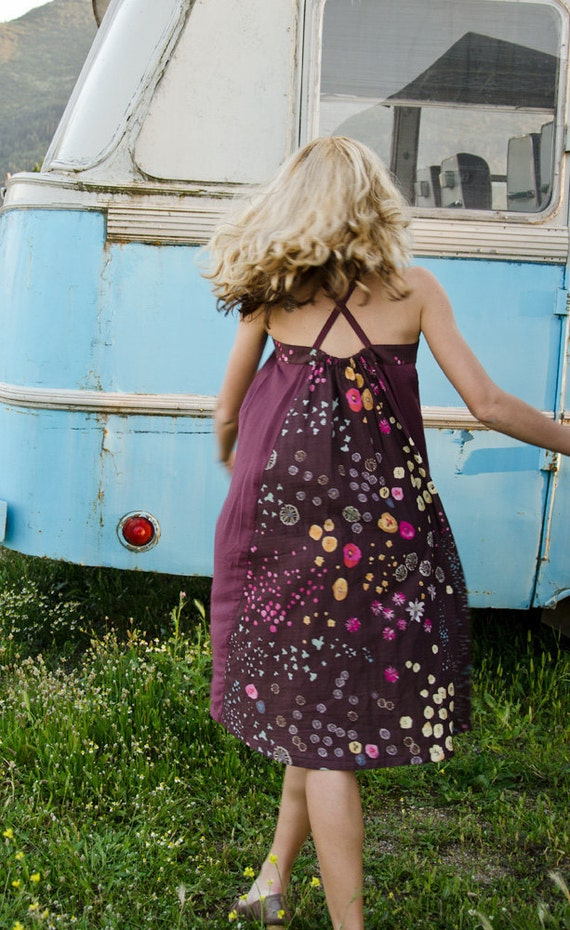 Aubergine Purple Sun Dress with Flowers on the back