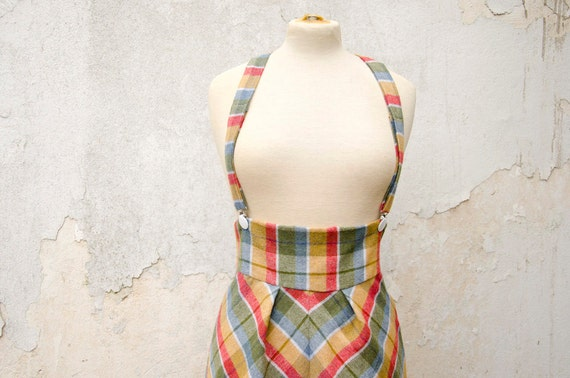 RESERVED Plaid High Waisted Jumper Skirt with Removable Suspenders