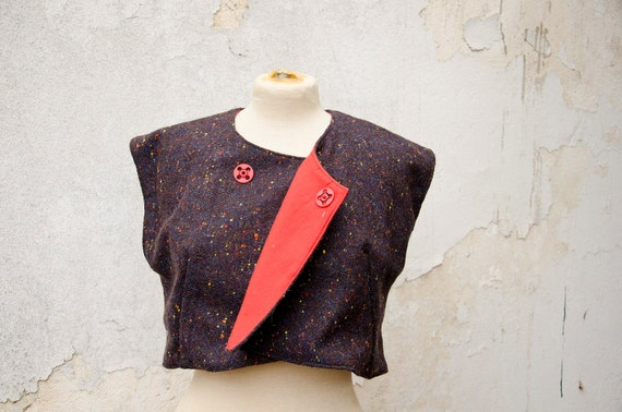 Cropped Vest Wool Tweed with Red Lining