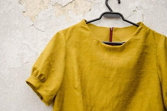 FABRIC BACKORDERED Mustard Yellow Mini Dress with raised neckline