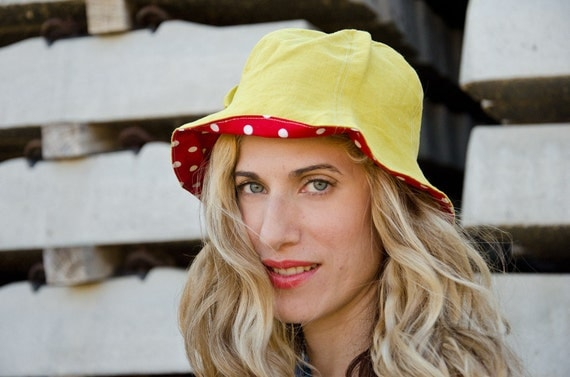 Summer Hat, Chartreuse Linen and Cotton, Sun Hat with Polka Dots