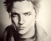 TWILIGHT - Edward Cullen - Robert Pattison - Pencil Portrait / 8x10 SIGNED PRINT