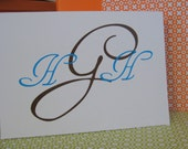 Personlized Folded Note Cards - Monogram - Set of 12