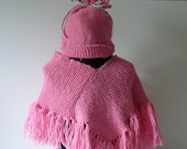 READY TO SHIP     Handmade Knit Baby Poncho and Hat/Girls/Pink/Acrylic          Size Newborn to 6 months