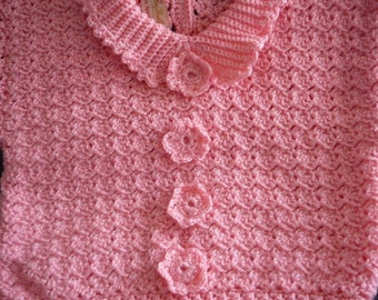 Pink Toddler Crocheted Sweater   READY TO SHIP     Size 12 to 18 mos
