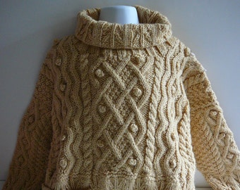 Knit Toddler Aran Cable Sweater     READY TO SHIP     Size 4 to 6 yrs
