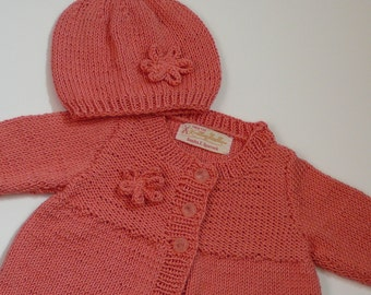 Handknit Bamboo Baby Coat and Hat Set/Baby Girls/Coral/Bamboo   READY TO SHIP     Size 6-12 mos