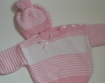 Knit Baby Girl Sweater and Hat Set       READY TO SHIP     Size 6 to 12 months