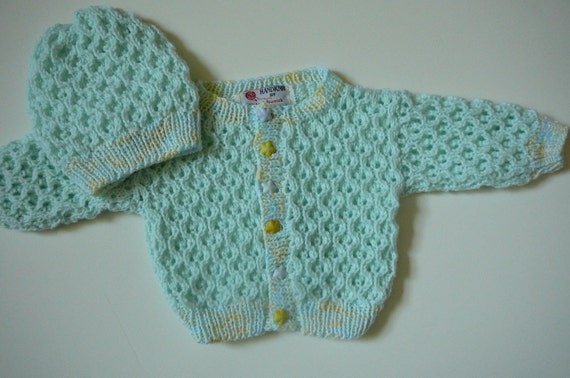 MADE TO ORDER      Knit Newborn Sweater Set/Baby Boys/Mint Green/Acrylic         Size Newborn - 3 months