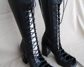 Black Steve Madden gladiator lace up boots, sz.9 repurposed, recycled
