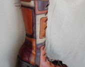 Steve Madden Patchwork repurposed gladiator boots, sz.7