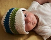 YOU CHOOSE SIZE Newborn to Adult Brimmed Beanie Hat- white, blue, green