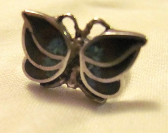 On Sale!  Sterling Silver Butterfly Ring, Native American Zuni, Stone Inlay
