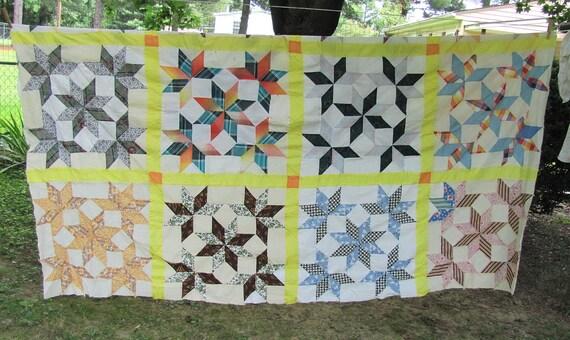 Handmade Handsewn Quilt Top of Vintage Fabrics, star pattern