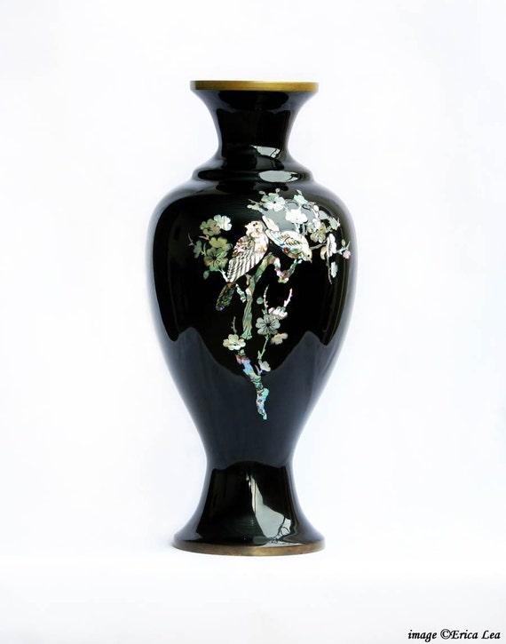 Korean Vase Black Enamel Mother of Pearl Inlay and Brass Vintage Mid-Century Floral Bird Design