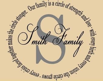Our family is a circle monogram with last name...vinyl lettering
