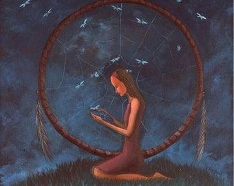 "The Dream Reader II (Print 8"" x 8"")Figurative Art, Story Telling Art, Dream Catcher, First Nation inspired, Symbolic Art, Night sky art"
