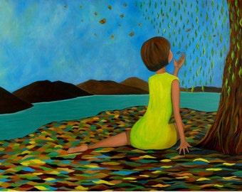 "Paradise Found (Print 6"" x 9.75"")Figurativet, Inspirational Art, Story Telling Art, Art for women and girls, Mountain Art, colorful Art"