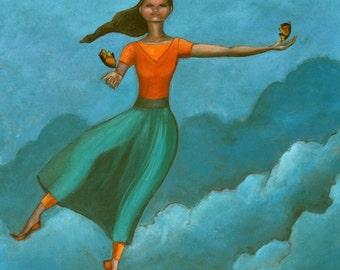 "A Leap of Faith (Print 8"" x 10""): Surrealism, Figurative Art, Art For Girls and Women, Story Telling Art, Inspirational Art, Tight Rope art"