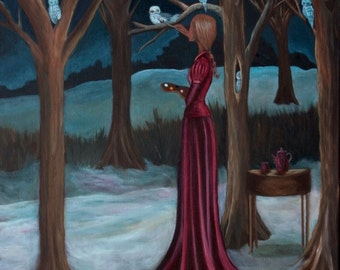 "The Night Owl II (Print 8"" x 10"")  Winter Art, Owl Art, Purple Color, Fantasy Art, Figurative Art, Wall Art, Surrealism, Fantasy Art, trees"
