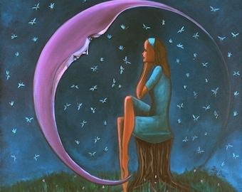 "Courage (Print 8"" x 8"" ), Inspirational Art, Moon Art, Figurative, Dreamy Art, Wall Art, Art for Women and Girls, Fantasy Art, Surrealism"