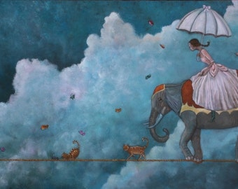 "The Parade (Print 5"" x 10""): Inspirational art, Surrealism, Fantasy Art, Whimsical Art, Elephant art, Art with cats, tightrope art, Wall art"