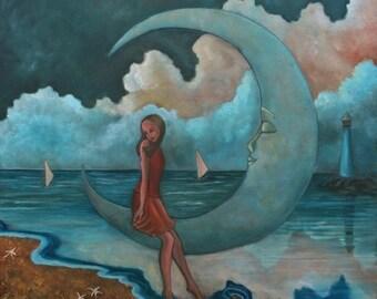 "Unconditional Love II (Print 8"" x 8"") Whimsical Art, Figurative, Moon Art, Nautical theme, Story telling Art, Symbolic art, Girl on Moon"